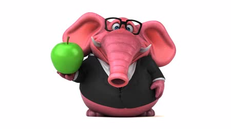 pracodawca : Cartoon elephant in formal attire with apple