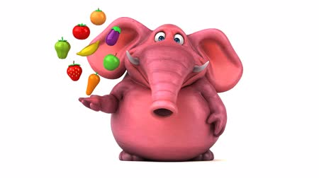 papriky : Cartoon elephant with fruits and vegetables