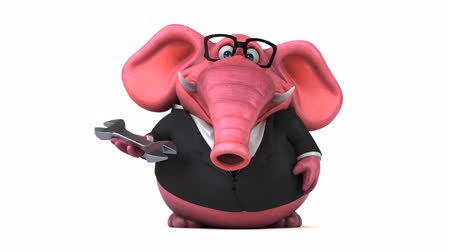 wrench : Cartoon elephant in formal attire with wrench