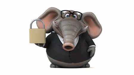 white elephant : Cartoon elephant in formal attire with padlock Stock Footage