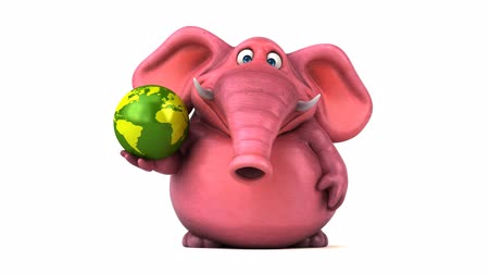 white elephant : Cartoon elephant with globe