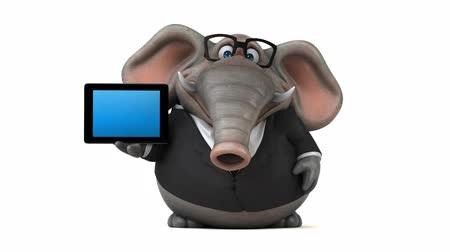 Cartoon olifant in formele kleding met digitale tablet Stockvideo