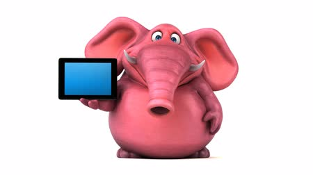 teknolojileri : Cartoon elephant with digital tablet Stok Video