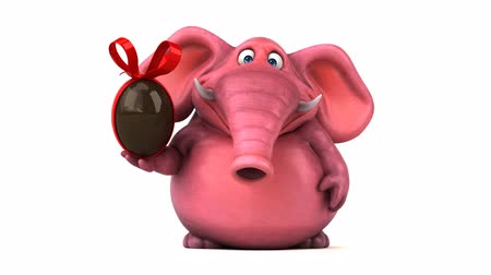 white elephant : Cartoon elephant with chocolate egg Stock Footage