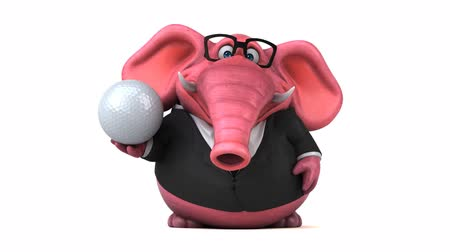ゴルフ : Cartoon elephant in formal attire with golf ball