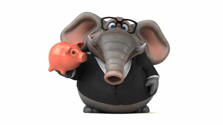 anima : Cartoon elephant in formal attire with piggy bank