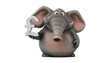 white elephant : Cartoon elephant with pound symbol