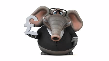 white elephant : Cartoon elephant in formal attire with pound symbol Stock Footage