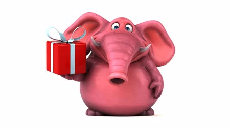 white elephant : Cartoon elephant with gift