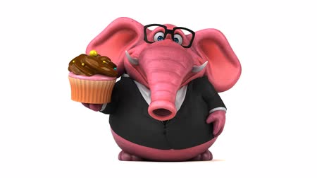 pracodawca : Cartoon elephant in formal attire with cupcake