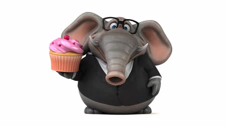 tusk : Cartoon elephant in formal attire with cupcake