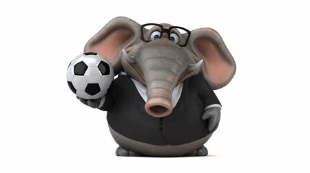 tusk : Cartoon elephant in suit walking and holding a soccer ball