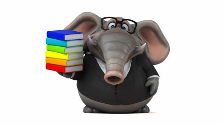 white elephant : Cartoon elephant in suit walking and holding a stack of books Stock Footage