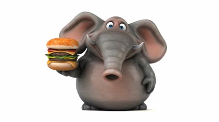 white elephant : Cartoon elephant walking and holding a hamburger
