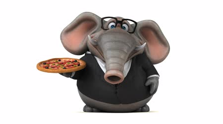 pepper : Cartoon elephant in suit walking and holding a pizza