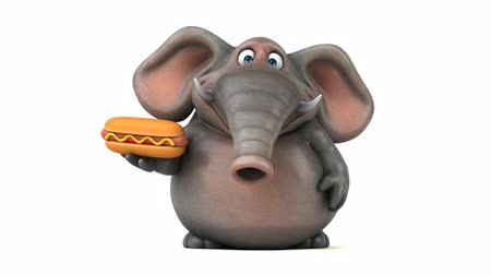 white elephant : Cartoon elephant walking and holding a hotdog