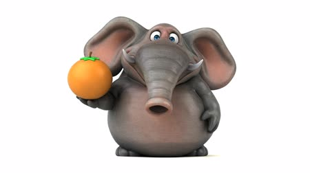 tusk : Cartoon elephant walking and holding an orange