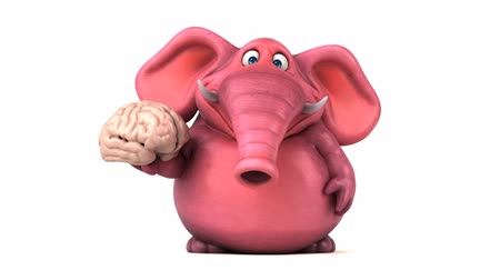 think big : Cartoon elephant walking and holding a brain Stock Footage