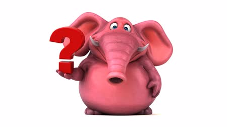 ponto de interrogação : Cartoon elephant walking and holding a question mark Stock Footage