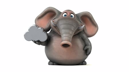 white elephant : Cartoon elephant walking and holding a metal cloud
