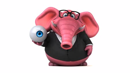 thick : Cartoon elephant in suit walking and holding an eyeball Stock Footage
