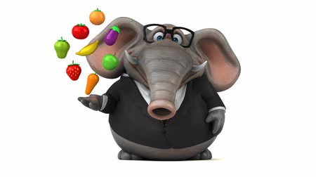 tusk : Cartoon elephant in suit walking and holding fruits and vegetables