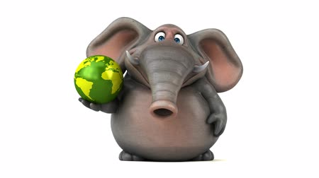 tusk : Cartoon elephant walking and holding a globe