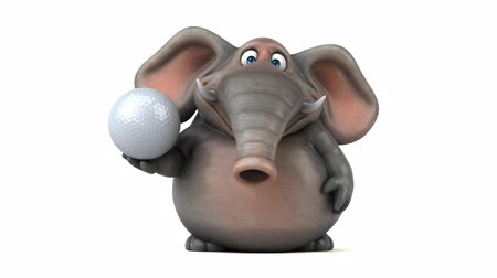 white elephant : Cartoon elephant walking and holding a golf ball
