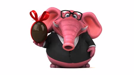 tusk : Cartoon elephant in suit walking and holding a chocolate egg