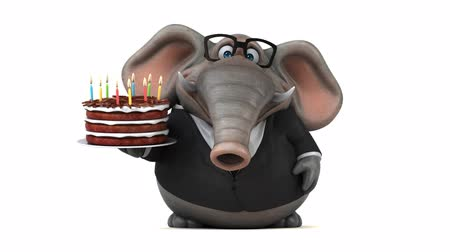 jegesedés : Cartoon elephant in suit walking and holding a cake Stock mozgókép