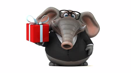 white elephant : Cartoon elephant in suit walking and holding a gift box