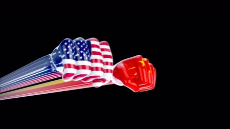 five star : Fists with USA and China flags