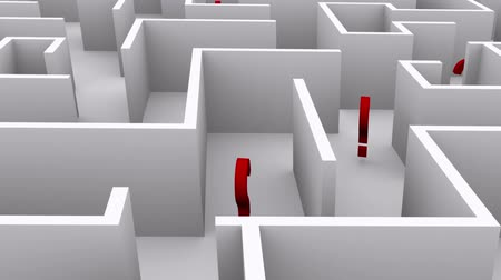 bewilderment : Question marks in the maze. Confusion and chaos.  Stock Footage