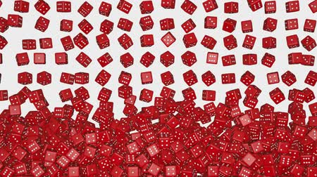 statistic : Dozens of reds dice falling and forming a wall