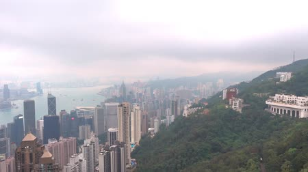 victoria : View from Hong Kong peak on a storm cloudy day Stock Footage