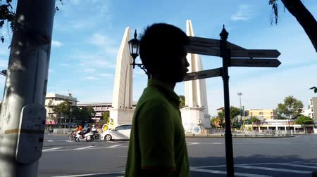 Bangkok, Thailand - January 1, 2018: Time lapse footage of people traveling in Democracy monument of Bangkok.