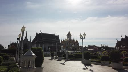 The Famous Loha Prasat Metal Palace Temple in Bangkok Thailand 動画素材