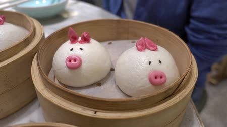 Chinese food with Cartoon and colorful Dim sum Stockvideo