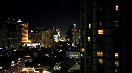 Time lapse night footage of Bangkok skyline in Sukhumvit Nana area
