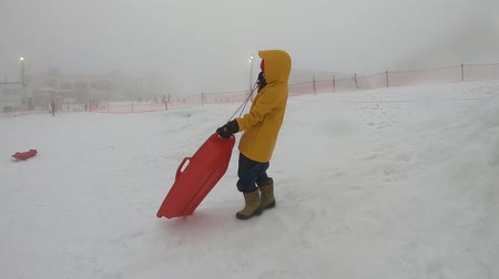 Little girl is playing with Snow Sled in Gala Yuzawa Tokyo snow resort