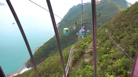 Riding on Hong Kong Cable car on the south island of Hong Kong. 動画素材
