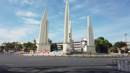 The Democracy monument of Bangkok Thailand under blue sky 動画素材