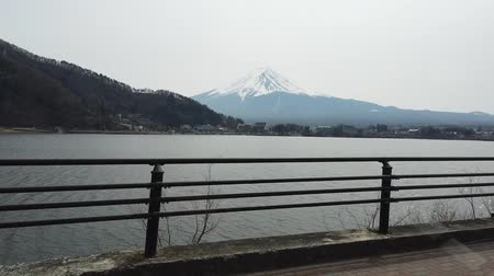 fuji : View of Fuji Mountain from Kawaguchiko lake Stock Footage