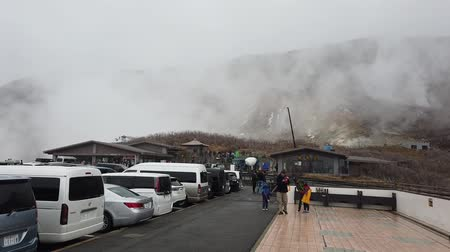 kükürt : Kamakura, Japan - 23 March 2019 : Car parking in Owakudani Hot spring in Hakone Japan