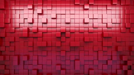 цифровая технология : 3D rendering. Red extruded cubes. Abstract background. Loop.