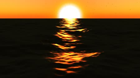 süreklilik : loopable FullHd 3d sea with great sunset