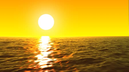 peaceful : loopable FullHd 3d sea with great sunset and waves Stock Footage