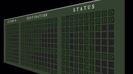 cancellation : Airport flight destination board showing status  Stock Footage