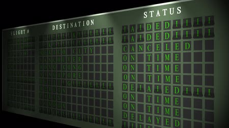 cancellation : Airport flight destination board flickering Stock Footage