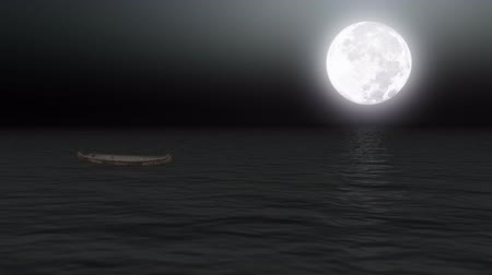 mehtap : Boat on calm sea under moonlight  Stok Video